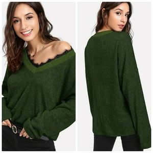 Army Green Lace Sweater Top